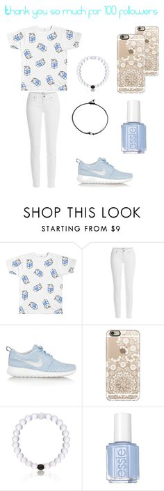 """""""Thanks for 100 followers"""" by soccer-tumblr ❤ liked on Polyvore featuring Paige Denim, NIKE, Casetify, Everest and Essie"""