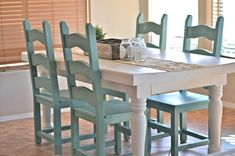 painted kitchen table and chairs-color combo for dining room: gray walls