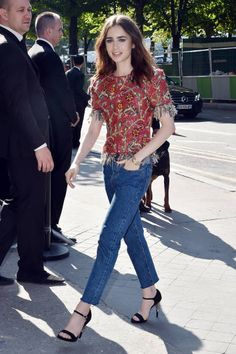 Lily Collins is seen arriving at the 'Chanel' show during Paris Fashion Week Haute Couture Fall/Winter 20172018 on July 4 2017 in Paris France