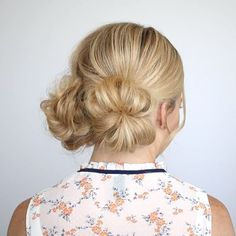 """Quick preview of Two Low Buns 🎥 from my recent """"5 Summer Mini Bun Hairstyles"""" tutorial 🌸 To see the slower version watch the video on my YouTube channel + learn 4 more easy styles for Summer! Link in bio! #missysueblog"""