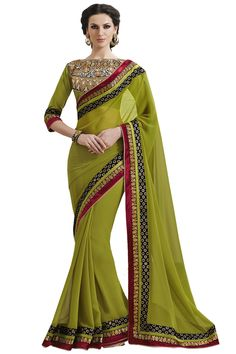 Green designe party wear saree online from easysarees