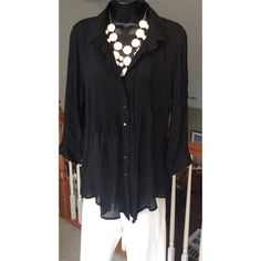 Fever Tunic Black tunic button down top. Small plates on the front. Super comfortable top. Fever Tops Tunics