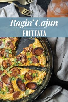 This Creole-inspired Ragin� Cajun Frittata is loaded with crisp andouille, New Orleans spiced shrimp and smoked cheese for an unforgettable breakfast or brunch sure to impress! Brunch Dishes, Brunch Menu, Brunch Ideas, Dinner Ideas, Weeknight Meals, Easy Meals, Smoked Cheese, Pasta Salad Italian, How To Cook Shrimp