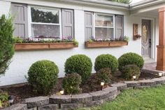 Window box planters have the unique ability to enrich and to beautify our homes inside and out. They improve the curb appeal of houses and give them a Brick Planter, Cedar Planters, Window Planter Boxes, Diy Planters, Modern Landscaping, Front Yard Landscaping, Planters For Shade, Cedar Window Boxes, Porch Tile