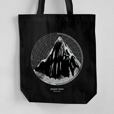 100% Cotton Canvas, Fair Trade Eco-Bag, Long Webbing Handles, Hand Printed Tote Bag with Gusset, Black Colour