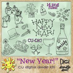 Happy New Year Holiday CU doodles, cudigitals.com,cu,commercial,digi,digital,scrap,scrapbook,graphic,