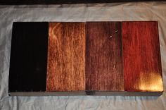 From the left: Minwax Polyshades Black (not going to continue using this, will use Ebony instead, chip currently being finished) Minwax Red Mahogany Varathane Black Cherry Varathane Cabernet