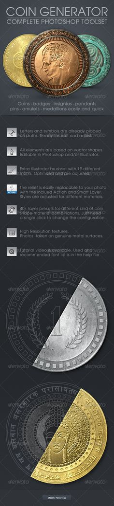 Coin Generator #GraphicRiver Coin Generator With this Add-on you can easily create coins, badges, pins, insignias, pendants or medallions with just a few clicks! Deliver professional and realistic results in a short time. Ideal for web graphics, prints and presentations. Numerous variations are possible. Choose between 40+ different coin bases layer comp presets (5 different material combined with 3 basic shapes, rim, edge etc) then customize with optional letters, dingbats, or any vector…