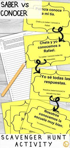 saber vs conocer worksheet pdf