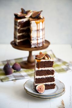 Caramel Fig Chocolate Cake: chocolate cake, caramel swiss meringue buttercream, fig jam, salted caramel, fresh figs