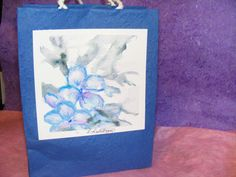 Watercolor Flowers on a Paper Gift Bag  Blue by TheGiftoftheGAB, $5.00