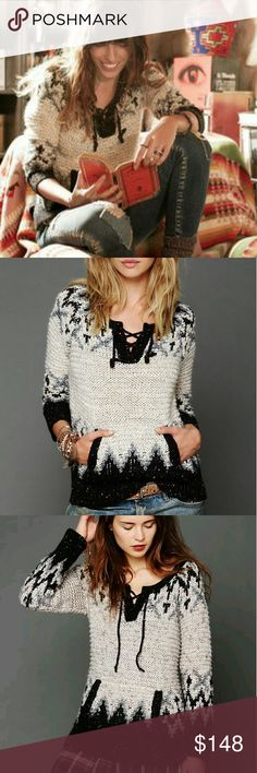 """Free People FAIR ISLE LACE UP PULLOVER sweater Fairisle patterned knit pullover sweater with lace-up detailing at front of neckline. Kangaroo-style front pocket.   *54% Acrylic, 28% Wool, 12% Polyester, 1% Nylon  *Hand Wash Cold  *Import   Measurements for Size Medium:  Length: 27 1/2""""  Bust (all around): 38 1/2""""  Bottom Opening (all around): 41""""  Sleeve Length: 26"""" Free People Sweaters"""