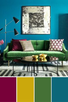 Interior design emerald green sofa against blue feature wall bedroom green, Living Room Green, Living Room Interior, Living Room Decor, Bedroom Green, Blue Feature Wall Bedroom, Feature Walls, Green Sofa Design, Lila Sofa, Emerald Green Sofa