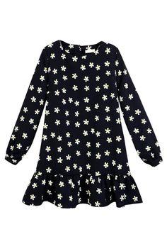 Daisy Print Long Sleeve Dress with Peplum Hem