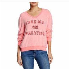 """Wildfox take me on vacation fuzzy jumper sweater New Wildfox couture """"take me on vacation"""" jumper pullover shirt. It is a v-neck style. Long sleeved. Super extremely comfy material. New with original tags as well! Wildfox Tops Sweatshirts & Hoodies"""