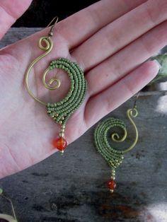 Black macrame spiral brass earrings, tribal earrings - jungle, summer green, hat earrings Informations About Black macrame spiral brass earrings, tribal -