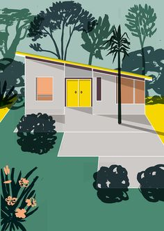 Holiday homes and abstract spaces in Mexican illustrator Elena Boils' illustrations.