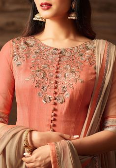 Party wear Art Silk and Net Abaya Style Kameez in Peach and Beige This Semi-Stitched attire is Enhan Pakistani Dress Design, Pakistani Outfits, Indian Outfits, Abaya Fashion, Indian Fashion, Fashion Dresses, Embroidery Suits, Embroidery Fashion, Hand Embroidery