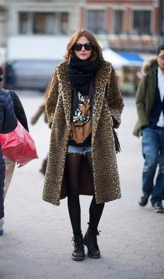 Styling 101: The Leopard Coat - styled with a graphic tshirt, sheer hose, cut-off shorts, doc marten boots and a cozy scarf