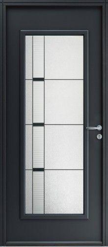 Porte acier, Porte entree, Bel'm, Contemporaine, Poignee rosace couleur argent, Grand vitrage, Double vitrage decoratif + petit bois noir, Napali, Epaisseur 48mm