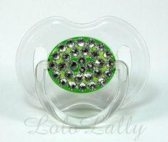 Baby Bling Diamond Swarovski Crystal Rhinestone Clear and Green Avent 0-6 Month Pacifier / Binky. $17.00, via Etsy.