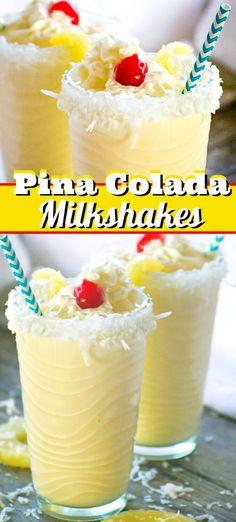 A cold, refreshing taste of the tropics in each sip of these Pina Colada Milkshakes. Pina Colada Recipe With Ice Cream, Milkshake Recipe Without Ice Cream, Pina Colada Recipe Non Alcoholic, Easy Pina Colada Recipe, Coconut Milkshake, Ice Cream Smoothie, Coconut Rum, Pina Colada Milkshake Recipe, Pineapple Milkshake Recipe