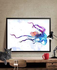 Imprimir acuarela pulpo pulpo impresión del arte por FineArtCenter