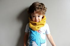 toddler knit cowl in MUSTARD vegan friendly by thehouseofhemp