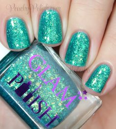 Glam Polish Sunrise Over Sea - Teal Jelly with Green and Golden Flakes and Glitter