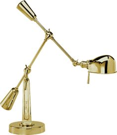 Limited Production Design Limited Stock: Ralph Lauren Classic Boom Arm Desk Lamp * Natural Brass * H: 35 inches * Partner Floor Lamps & Bedside Wall Reading Lights Available