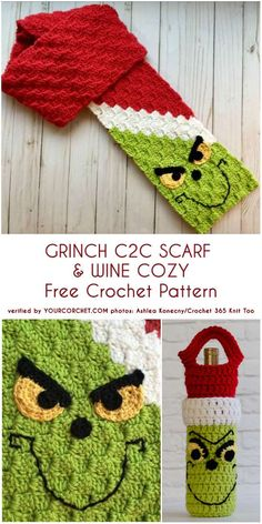 grinch scarf crochet pattern free Crochet Grinch Scarf Free Crochet Pattern - Video: fun Christmas scarf for kids Beau Crochet, Crochet Kids Scarf, Bonnet Crochet, Crochet Scarves, Crochet For Kids, Crochet Yarn, Crochet Mittens, Crochet Clothes, The Grinch