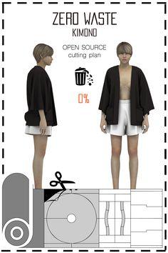 [ FR ] Patronnage zéro déchet conçu pour fabriquer un kimono, une jupe et un top. Le placement est disponible gratuitement (sous licence creative commons) dans différents formats tels que: jpeg, pdf, svg, & dxf.. [ EN ] This is a Zero waste pattern designed to make a kimono, a skirt and a top. Cutting plan is available for free (under the creative commons licence) in differents formats such as jpeg, pdf, svg, & dxf..