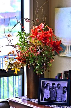 Elements of Fall Centerpiece with Bittersweet Branches ... reluctantentertainer