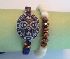 Macrame bracelet and beaded bracelet by AroundMyWrist on Etsy, 16.00