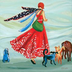 """""""The Dog Whisperer"""" painting by Carolee Clark"""