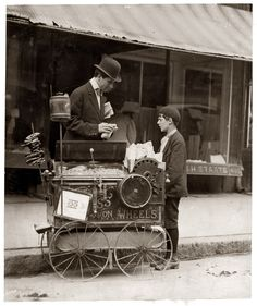 Joseph Severio, an 11 year old peanut vendor in Wilmington, Delaware, is seen here with photographer Hine. He had been pushing his cart for two years and was out after midnight on May All of his earnings went to his father. by Lewis Hine Vintage Pictures, Old Pictures, Old Photos, Vintage Images, Belle Epoque, Lewis Hine, The Good Old Days, Vintage Photographs, Historical Photos