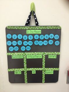 Class Attendance Board--will help you know where students are at all times! Make the numbers pics from the first day of school and the board from a cookie pan from the dollar tree.  I am pinning this for all my classroom teacher friends