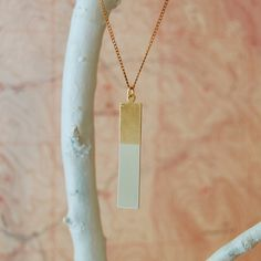 """★ Brass Large Geometric Handpainted Pendant Necklace, """"Rectangle"""" from ANOTHER PLANET #Jewelry"""