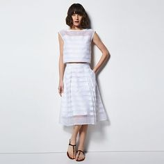 76a7b410d MILLY for DesigNation Striped Organza Midi Skirt - Women s