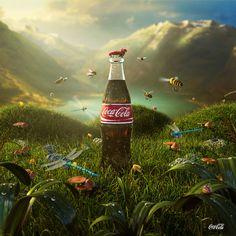 Jerico Santander Coca Cola with a touch of norwegian summer landscape. Coca Cola Poster, Coca Cola Ad, Always Coca Cola, Poster Ads, Creative Advertising, Advertising Design, Coca Cola Brands, Coke Ad, Vintage Coke