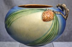 Roseville Pottery Pine Cone Rose Bowl #278-4 w/Label, Blue, Ca. 1936