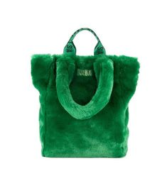 Unreal Fur Tzippy Wide Faux Fur and Artificial Leather Tote Fur Purse, Fur Bag, Copenhagen Style, Copenhagen Fashion Week, Leather Purses, Leather Totes, Leather Bags, Midi Dress With Sleeves, Green Bag