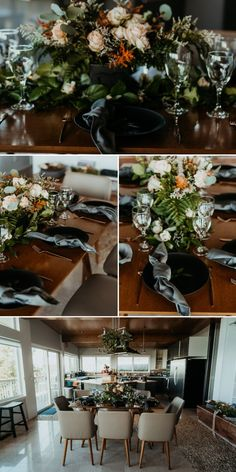 """After exchanging """"I do's"""" on the Oregon coastal cliffside, these brides celebrated with their loved-ones. This elopement reception was complete with peachy floral arrangements and tasteful black decor elements. 