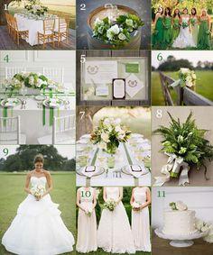 Green & White Wedding Inspiration - WV WEDDINGS (Planner's Palette - designed by Caroline McKean - http://www.mywvwedding.com/Planners-Palette/August-2012/Fresh-Greens-White/)