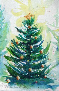 Watercolour Christmas Tree art Snowy winter Pine by CheyAnneSexton, $20.00