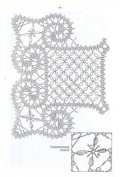 "Photo from album ""Брюггское кружево"" on Yandex. Filet Crochet, Crochet Shrug Pattern, Crochet Motif Patterns, Bobbin Lace Patterns, Crochet Diagram, Crochet Chart, Crochet Squares, Crochet Basics, Crochet Stitches"