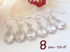 Set Of 8 12% Off Bridesmaid Gift, Maid of Honor Gift for Bridesmaids Jewelry Set, Unique Wedding Earrings Bridal Shower Gift Dangle Earrings