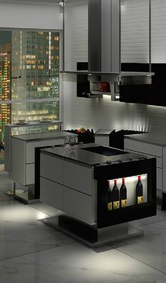 .love the wine space...MODERN KITCHEN