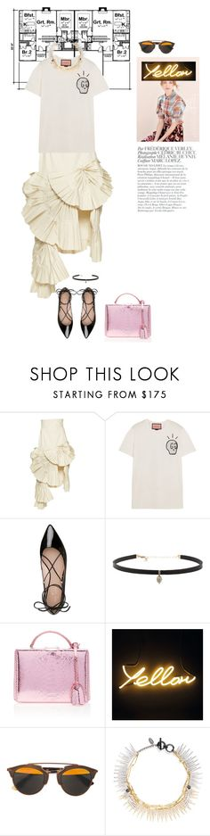 """whipped strawberry."" by zentella ❤ liked on Polyvore featuring Jacquemus, Gucci, Kate Spade, Carbon & Hyde, Mark Cross, Bela, Christian Dior, Venna, white and katespade"