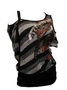 eVogues-Plus-Size-Designer-Print-Off-Shoulder-Top-Black-0